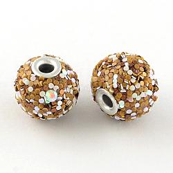 Perles rondes en Indonésie manuelles, avec des perles de paillette et de noyaux d'aluminium, Pérou, 14~15x15~17mm, Trou: 3mm(X-IPDL-R033-39C)
