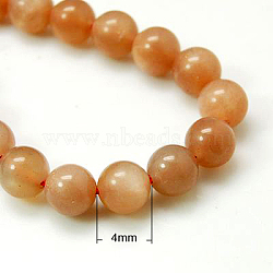 Natural Sunstone Beads Strands, Grade A,  Round, Chocolate, 4mm, Hole: 1mm