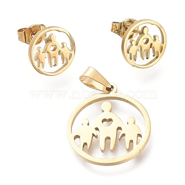 304 Stainless Steel Jewelry Sets, Pendants and Stud Earrings, with Ear Nuts, Ring with Family, Golden, 19.3x17x1mm, Hole: 5x3mm; 10mm, Pin: 0.7mm(SJEW-K154-26G)