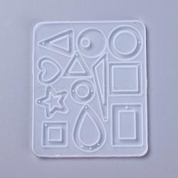 moules en silicone pendant, moules de résine époxyde, pour la résine UV, fabrication de bijoux de bricolage, formes géométriques, blanc, 117x98x4~5 mm(X-DIY-F031-03)