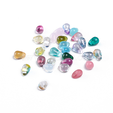 Czech Glass Beads, Electroplated/Dyed/Transparent/Imitation Opalite, Top Drilled Beads, Teardrop, Mixed Color, 6.5x4.5mm, Hole: 0.8mm; about 357~363pcs/bag(GLAA-G070-11A)