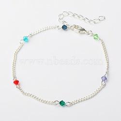 La mode des perles de verre tchèque cheville, chaînes torsadées en fer avec fermoirs en griffe de homard en alliage, colorées, 225mm(AJEW-AN00019-06)
