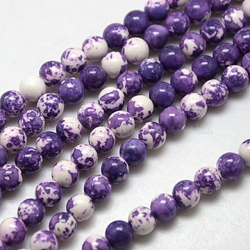 Synthetic Fossil Beads Strands, Dyed & Heated, Round, DarkSlate Blue, 6mm, Hole: 1mm; about 62pcs/strand, 15.7 inches(G-L028-6mm-03)