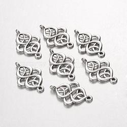 Maillons / connecteurs en alliage, sans plomb et sans cadmium, argent antique, Longueur 28mm,  largeur de 18 mm, épaisseur de 2mm, Trou: 1.5mm(X-EA11933Y)