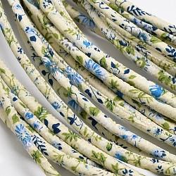 fleurs cordons de tissu d'impression, beige, 7 mm; 100 yards / paquet (300 pieds / paquet)(OCOR-M001-04)