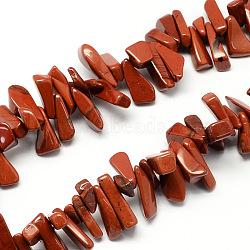 """Chapelets de perles en jaspe rouge naturel, puce, rouge, 12~20x6~10x3~10mm, trou: 1mm; environ 104 pcs/chapelet, 15.7""""(X-G-R191-04)"""