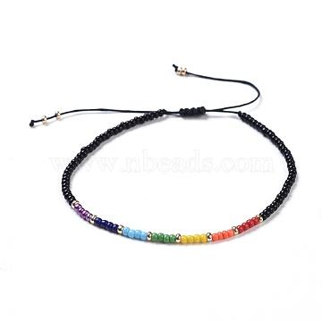 Chakra Jewelry, Nylon Thread Braided Beads Bracelets, with Seed Beads, Black, 46~75mm(X-BJEW-JB04347-04)