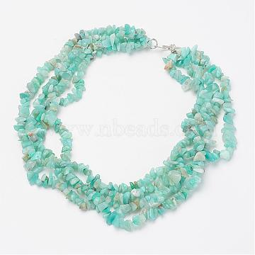 Natural Amazonite Multi-strand Necklaces, with Metal Alloy Bar & Ring Toggle Clasps, Silver Color Plated, 17.7 inches~18.1 inches(45cm~46cm)(NJEW-JN01864-02)
