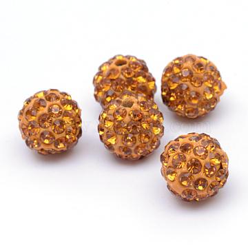 Perles en strass pavé d'argile polymère, perles de boule de disco, topaze, 12mm, Trou: 1.5mm(X-RB-Q197-12mm-22)