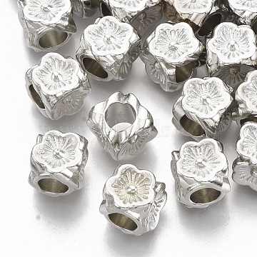 Plating ABS Plastic European Beads, Large Hole Beads, Cube with Flower, Platinum, 8.5x8.5x8.5mm, Hole: 4.5mm(X-KY-T019-19)