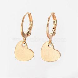 Boucles d'oreilles en 304 acier inoxydable, Boucles d'oreilles leverback, cœur, or, 26mm, pin: 1 mm(EJEW-D227-07)