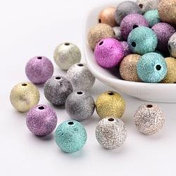 Perles acryliques laquées, Style mat, rond, couleur mixte, taille: environ 12mm de diamètre, Trou: 2mm, environ 580 pcs/500 g(PB24P9286)