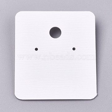 Plastic Jewelry Display Cards, for Hanging Earring Display, Rectangle, White, 45.5x40x4.5mm, Hole: 1.4mm and 6mm, 100sheets/bag(DIY-K032-04)