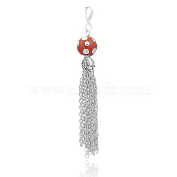 Antique Silver Plated Iron Chain Tassel Big Pendants, with Round Indonesia Bead and Alloy Lobster Claw Clasps, OrangeRed, 103mm(PALLOY-E390-25AS)