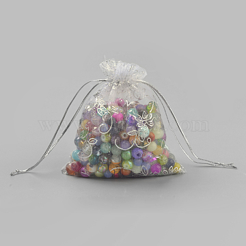 Organza Gift Bags, Rectangle with Flower Pattern, White, 12x9cm(OP-Q044-9x12-01)