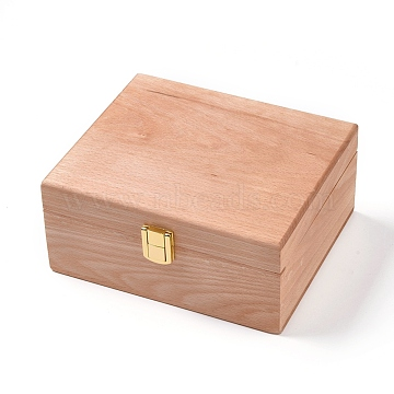 Unfinished Wood Jewelry Box, with Front Clasp, for Arts Hobbies and Home Storage, Rectangle, BurlyWood, 16x19x8.7cm(OBOX-WH0004-11)