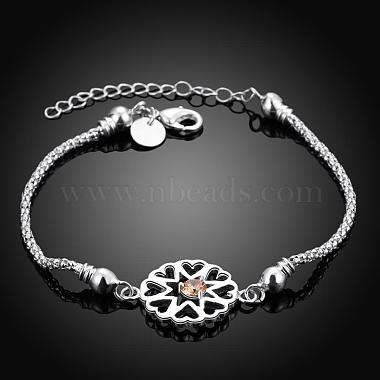 Exquisite Silver Color Plated Brass Cubic Zirconia Flower Link Bracelets(BJEW-BB00819)-2
