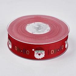 """Rubans gros grain imprimés polyester, le thème de Noël, le père noël, rouge, 1"""" (25 mm); environ 100yards / rouleau (91.44m / rouleau)(ORIB-E002-B02)"""