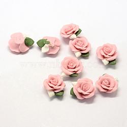 Фарфора ручной работы кабошонов, Китай глиняные шарики, цветок, розовые, 23~25x20.5~21x10~11 мм(PORC-S1003-06A)