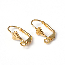 Golden Color Brass Leverback Earring Findings, with Loop, Nickel Free, about 10mm wide, 18mm long, Hole: 2mm(X-EC561-G)