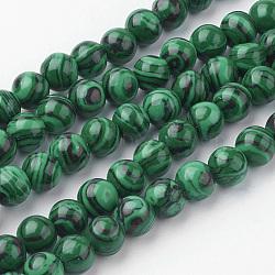 Chapelets de perles en malachite synthétique, rond, 6~6.5mm, trou: 1mm; environ 60 pcs/chapelet, 14.9'' (38 cm)(G-G735-70-6mm)