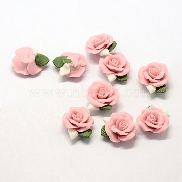 23mm Pink Flower Porcelain Cabochons