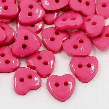 Acrylic Heart Buttons, Plastic Sewing Buttons for Costume Design, 2-Hole, Dyed, DeepPink, 12x12x3mm, Hole: 1mm(BUTT-E071-A-06)