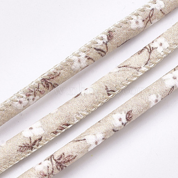 Printed PU Leather Cords, Flower Pattern, Blanched Almond, 5~6mm, about 5.46 yards(5m)/roll(LC-S019-08C)