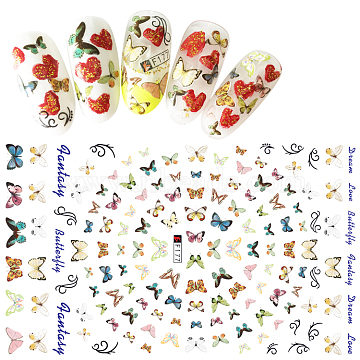 Nail Art Stickers, Self-adhesive, For Nail Tips Decorations, Butterfly, Colorful, 123x80mm(X-MRMJ-Q080-F177)
