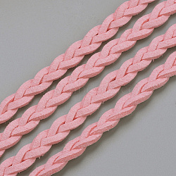 Braided Faux Suede Cord, Faux Suede Lace, Pink, 7x3mm; about 5yards/1roll(X-LW-Q008-2.7mm-1038)
