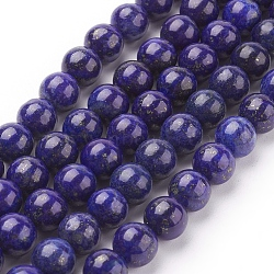 Natural Lapis Lazuli Beads Strands, Dyed, Round, Blue, 8mm, Hole: 1mm; about 22~24pcs/strand, 7.6 inches