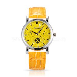 Нержавеющая сталь высокого качества кожа бриллиантами кварцевые наручные часы, оранжевые, 240x19 мм; головка часы: 45x40x11 мм(WACH-N008-14A)