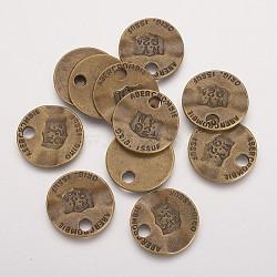 Pendentifs en alliage de zinc, sans plomb et sans cadmium et sans nickel, plat rond, couleur de bronze antique, taille: environ 22 mm de long,  largeur de 22 mm, épaisseur de 2mm, Trou: 3mm(PALLOY-QA3346-AB-FF)