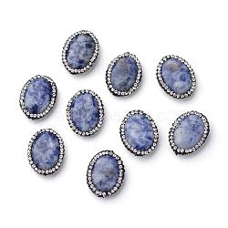 Natural Blue Spot Jasper Beads, with Polymer Clay Rhinestone, Oval, 21~22x16~16.5x5.5~6mm, Hole: 1mm(G-S213-06)