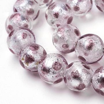 12mm RosyBrown Round Silver Foil Beads