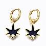 Dark Blue Leaf Brass Earrings(EJEW-T014-28G-01-NF)