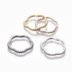 Micro en laiton pavent zircone cubique anneaux de liaison, fleur, couleur mixte, 21x21.5x2mm, Trou: 17x18mm(ZIRC-P078-01-03)