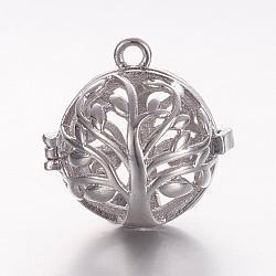 Pendentifs de cage en laiton, pour faire des colliers à pendentif carillon, rond creux avec arbre de vie, platine, 17x17.5x15mm, trou: 1 mm; diamètre intérieur: 11.5 mm(KK-K173-03P)
