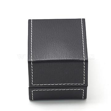 Plastic Imitation Leather Ring Boxes, with Velvet, Rectangle, Black, 6.8x6.1x5.8cm(OBOX-Q014-25)