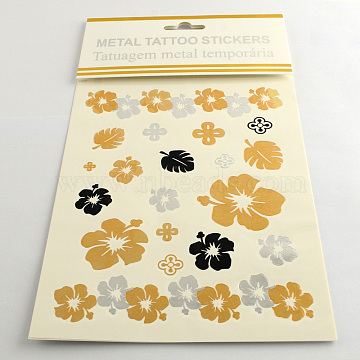 Mixed Flower Shapes Cool Body Art Removable Fake Temporary Tattoos Metallic Paper Stickers, Mixed Color, 8~120x7~42mm; 12pcs/bag(AJEW-Q081-37)