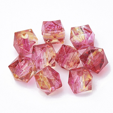 Two Tone Transparent Spray Painted Acrylic Bead, Polygon, Deep Pink, 7.5x8x8mm, Hole: 1.8mm(X-ACRP-T005-26D)
