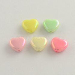 Couleur ab perles acryliques cardiaques plaqué, couleur mixte, 11x12x5mm, Trou: 2mm(X-SACR-Q106-07)