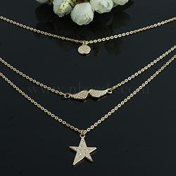 aile et étoile et arbre de colliers en alliage de vie à plusieurs niveaux, 3 colliers de couches, or, 15.7(NJEW-N0052-006)
