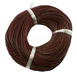 Leather Beading Cord, Cowhide Leather, DIY Necklace Making Material, Chocolate, 3mm, about 5m/strand(WL-A002-2B)