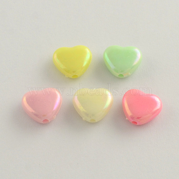 AB Color Plated Heart Acrylic Beads, Mixed Color, 11x12x5mm, Hole: 2mm(X-SACR-Q106-07)