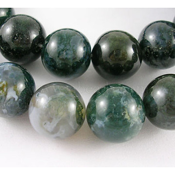 14mm Green Round Moss Agate Beads