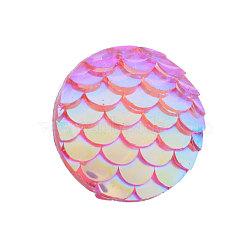 Cabochons en résine, plat rond avec écaille de sirène, Prune, 12x3mm(X-CRES-Q191-HA023-7)