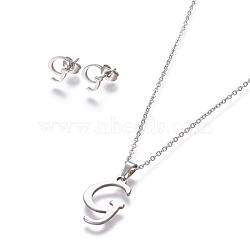 304 ensembles de bijoux en acier inoxydable, boucles d'oreille et colliers, alphabet, couleur inox, letter.g, 17.7 18.1 cm); (45~46 mm; Broche: 7.5~10x3.5~12 mm(X-SJEW-L141-052G)