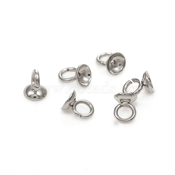 304 Stainless Steel Bead Cap Pendant Bails, for Globe Glass Bubble Cover Pendants, Stainless Steel Color, 5x4mm, Hole: 2.5mm(STAS-G224-24P-05)
