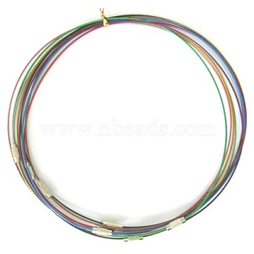 Steel Wire Necklace Cord, with Brass Screw Clasps, Nickel Free, Mixed Color, Platinum Color, Size: 17.5 inches long, Wire: about 1mm in diameter, it can be passed through the hole above 3mm.(X-SW001M)